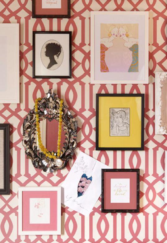 pink trellis print wallpaper Pink Turquoise Yellow Pinterest 537x783