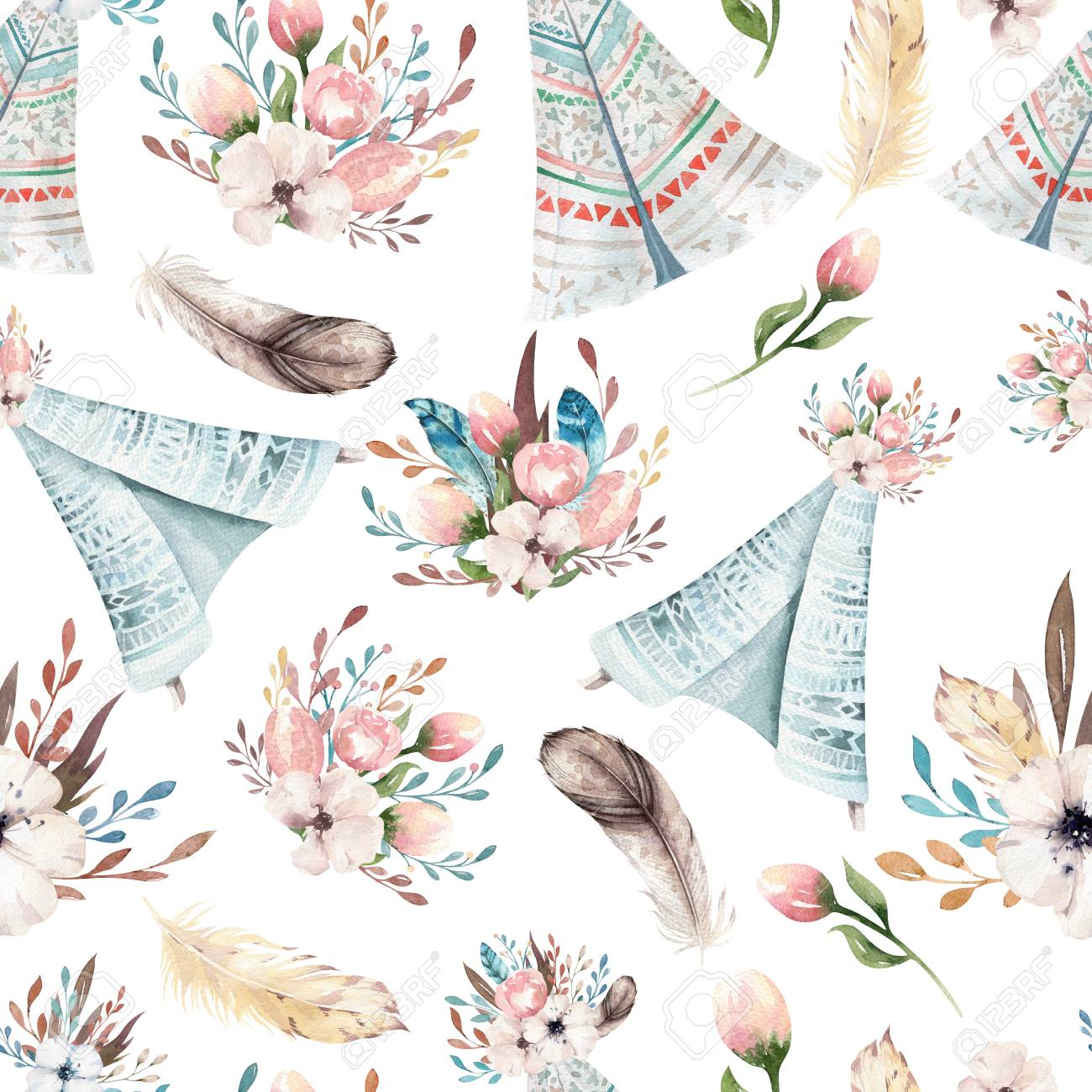 Seamless Boho Watercolor Wallpaper With Blossom Flowers And Leaves 1300x1300