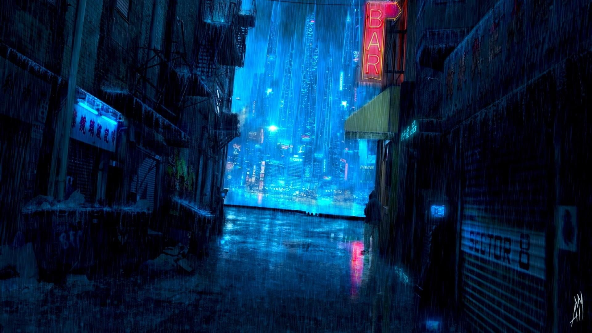 Cyberpunk rain aesthetic water city lights raining darkness 1920x1080