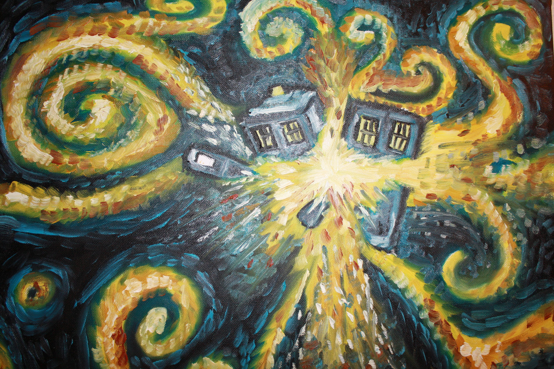 ... tardis vincent van gogh doctor who starry night 1280x1031 wallpaper