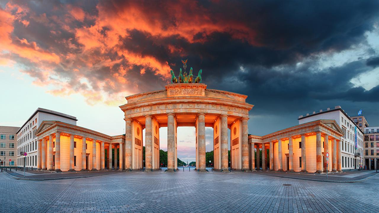 Photos Berlin Germany Town square columns Brandenburg Gate Cities 1280x720
