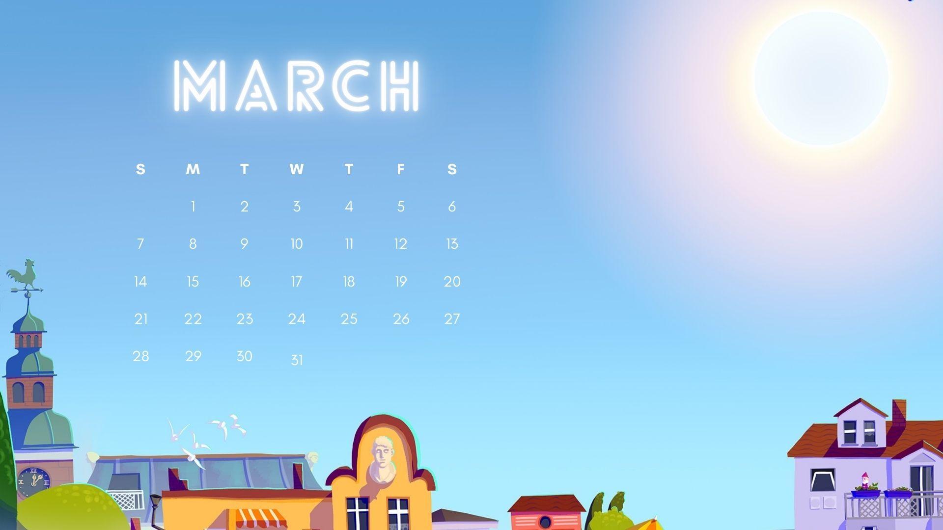 download March 2021 calendar wallpaper Calendar wallpaper 1920x1080