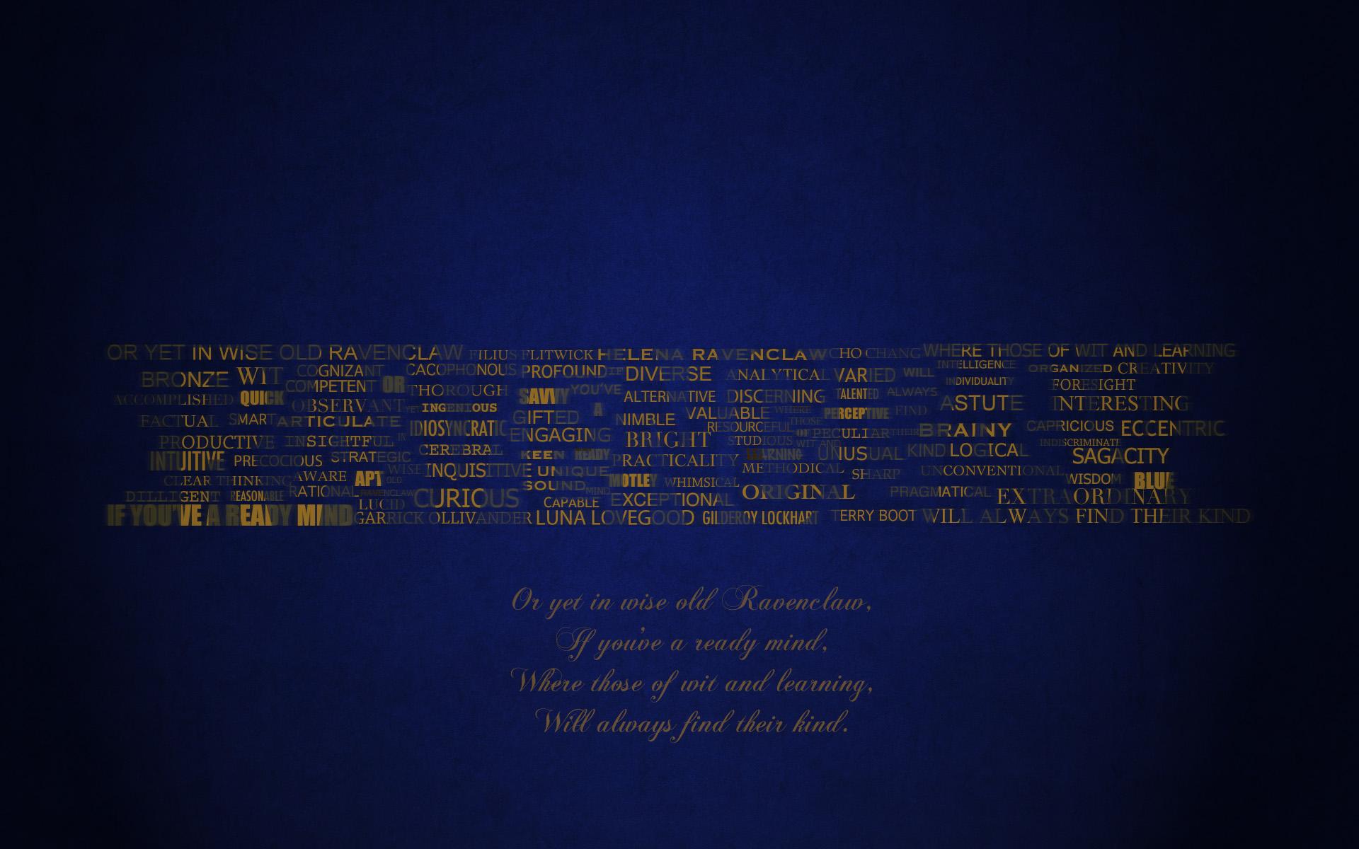 Ravenclaw Typography Wallpaper by GlobalParody 1920x1200