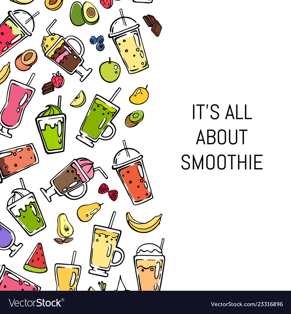 Doodle smoothie background Royalty Vector Image 1000x1080
