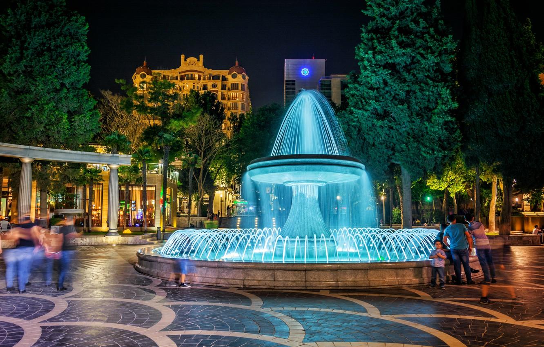 Wallpaper night fountain night Azerbaijan Azerbaijan Baku 1332x850