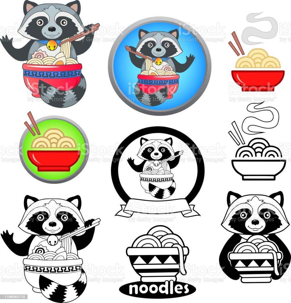 Cute Raccoon Eating Ramen Noodles Funny Illustration Mascot Emblem 983x1024