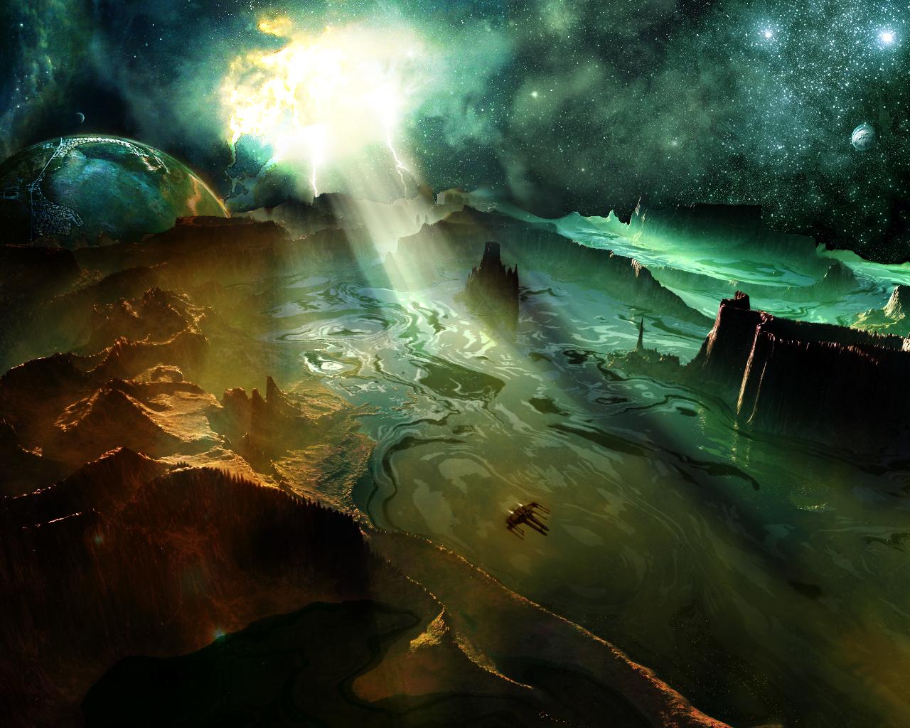 Sci fi landscape wallpaper wallpapersafari for Sci fi background