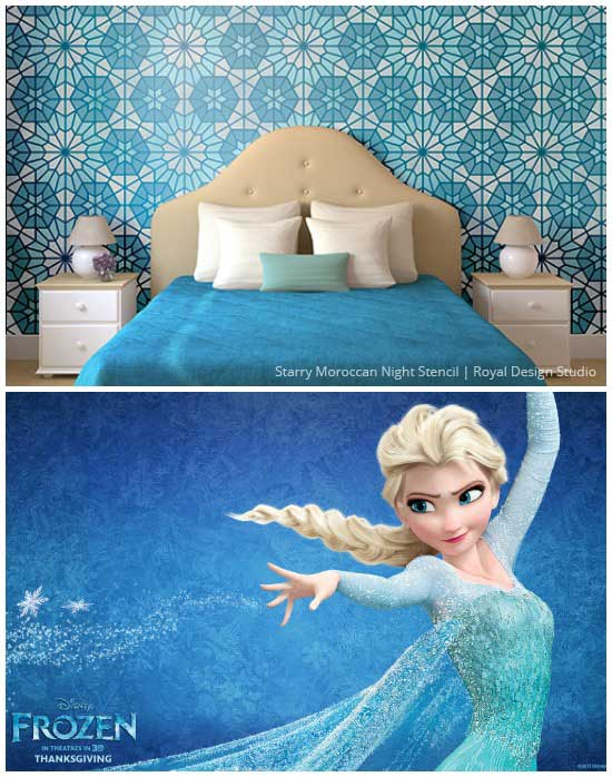 Disneys Frozen Inspired Stenciled Girls Bedroom Royal Design 550x698
