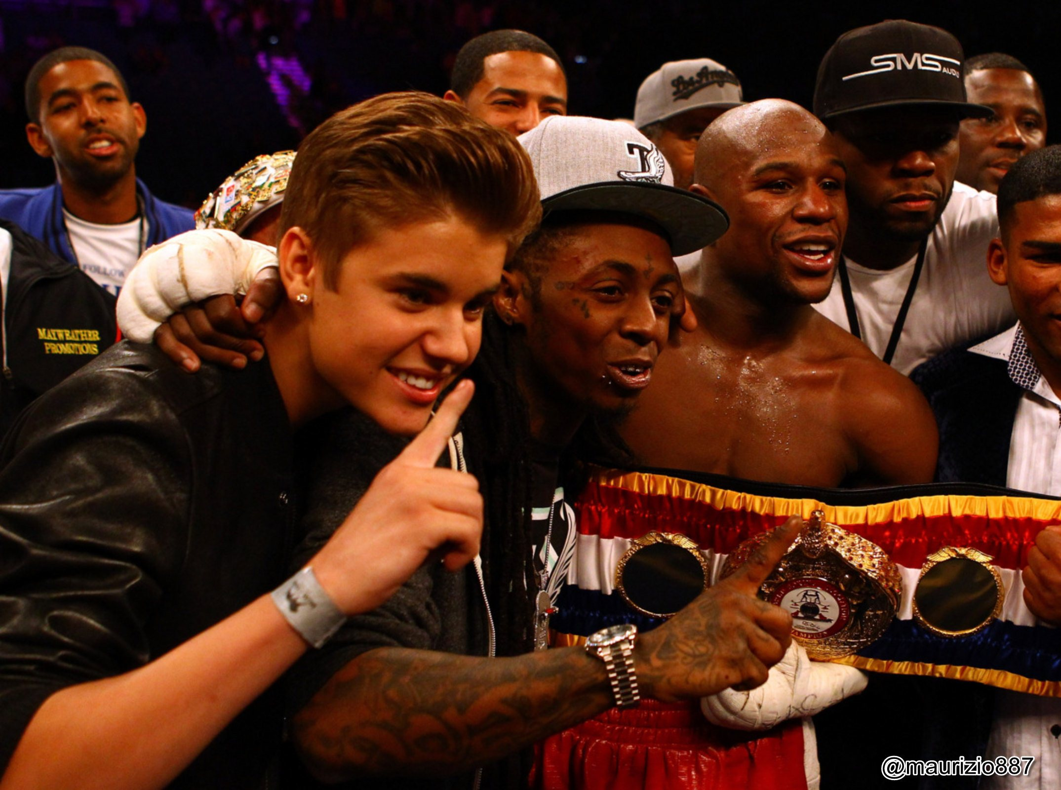Justin Bieber images Justin Bieber and 50 Cent at Mayweather vs 2149x1600