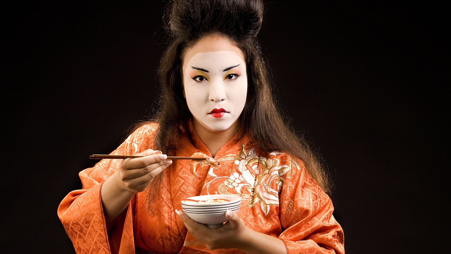 Geisha asian black brunette food geisha girl model woman 1920x1080
