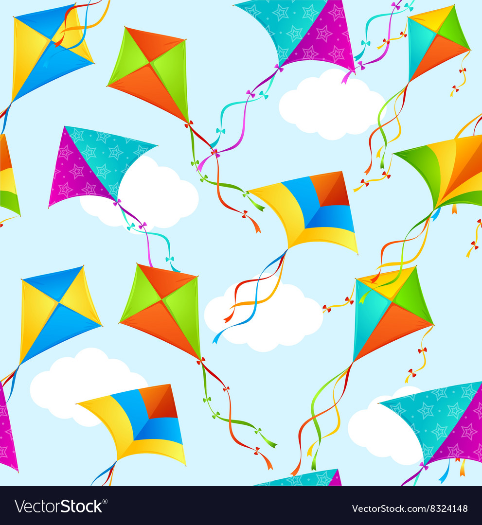 Kite Background Pattern Royalty Vector Image 991x1080