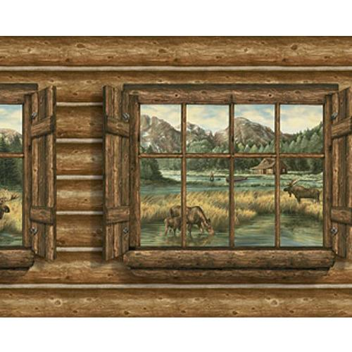 Log Cabin Windows with Moose Wallpaper Mural 500x500