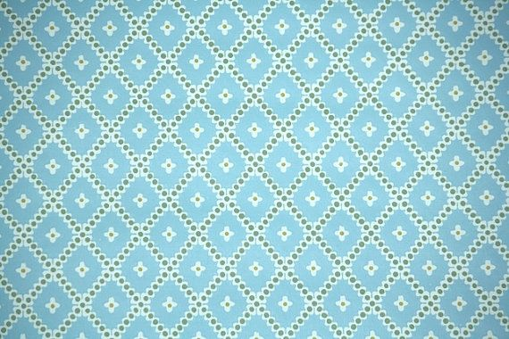 1970s Vintage Wallpaper Blue White and Green by kitschykoocollage 570x380