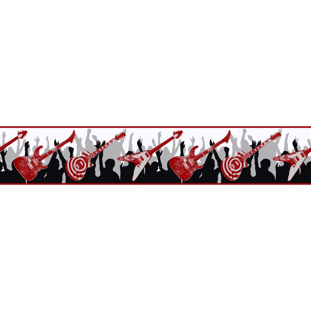 Will Be Boys Guitar Border   Wallpaper Border Wallpaper inccom 1000x1000