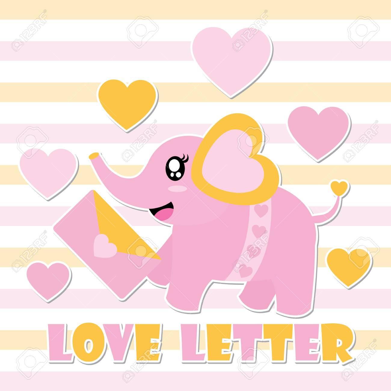 Cute Baby Elephant And Love Letter Vector Cartoon Illustration 1300x1300