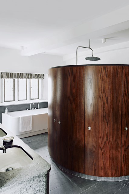 Bathroom with walnut shower pod Ideas for bathrooms small and large 426x639