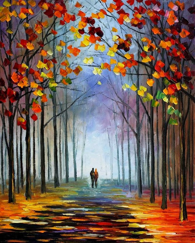by leonid afremov steam of autumn painting by leonid afremov 800x998