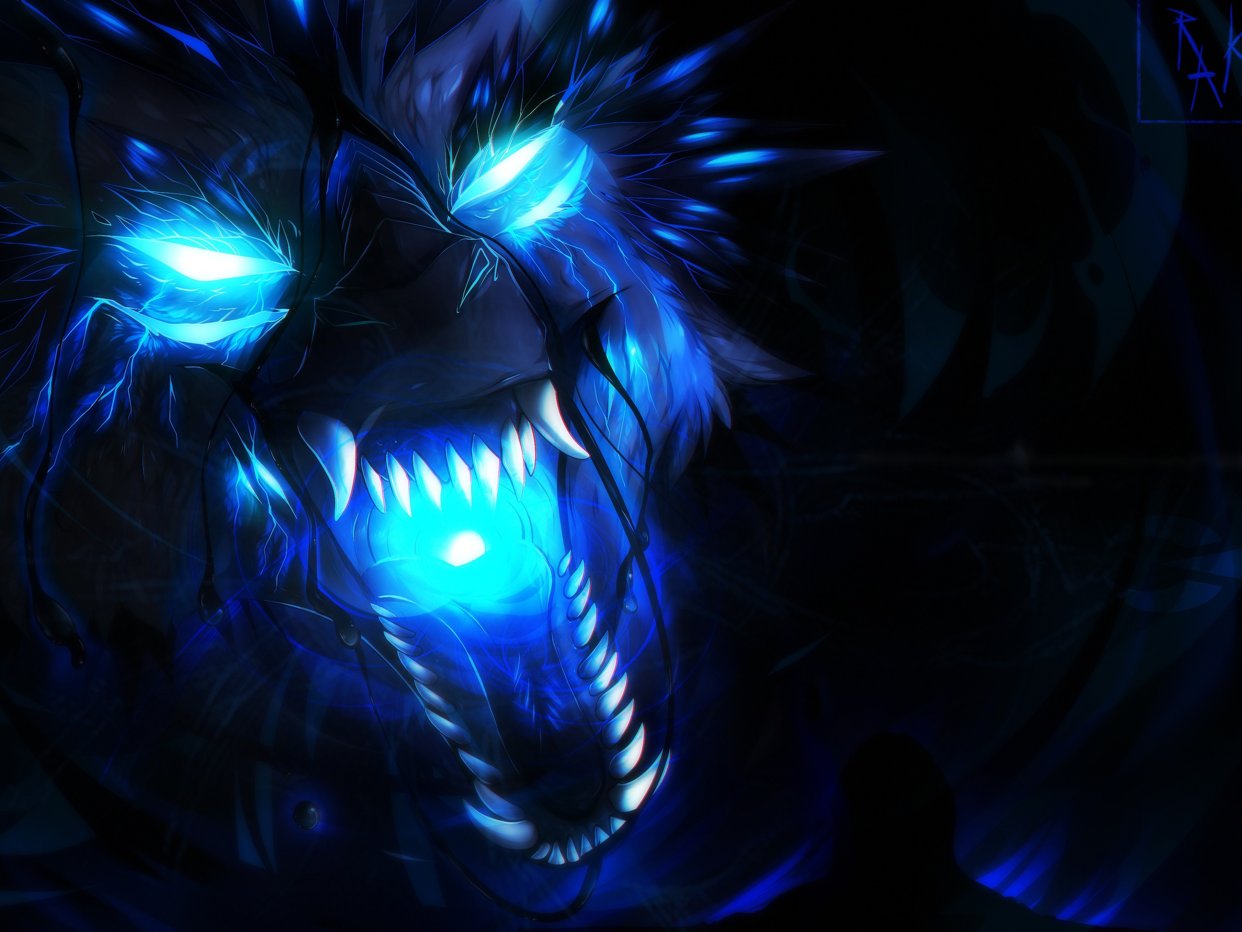Wallpaper Wolf blue flame art picture 3840x2160 UHD 4K Picture 2560x1920