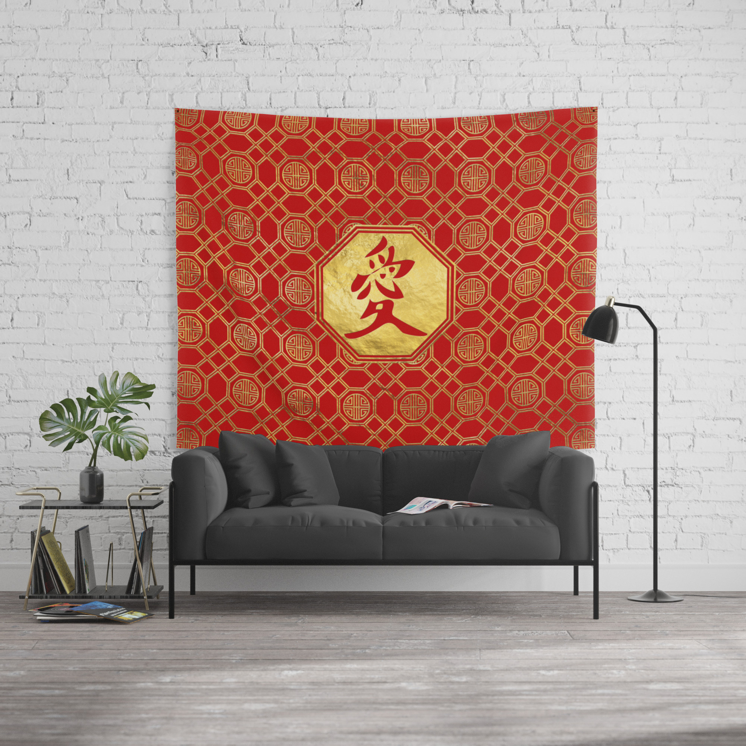 Love Feng Shui Symbol in bagua shape Wall Tapestry by k9printart 1500x1500