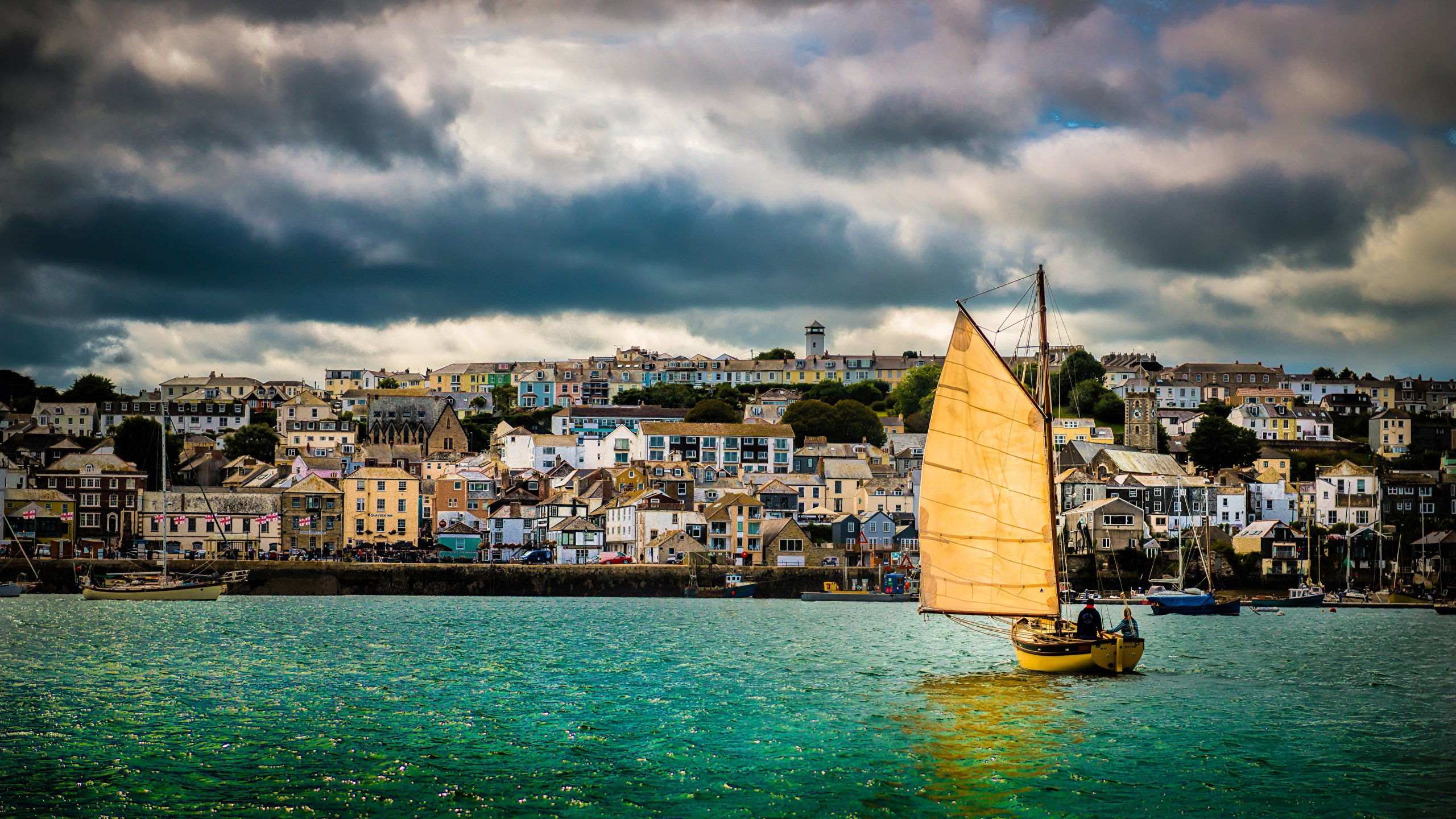 Images England United Kingdom Cornwall Falmouth Harbour 2560x1440 2560x1440