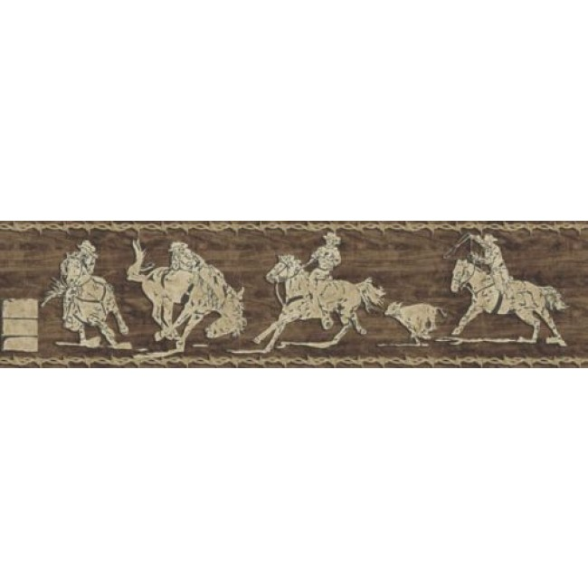 Western Cowboy Rodeo Shadows Peel Stick Wallpaper Border   All 4 650x650