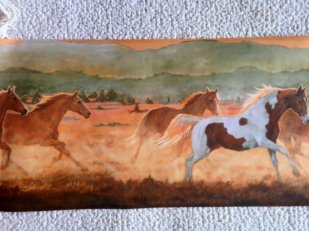 Old West Running Horses Wallpaper Border Teal Sky eBay 1000x750