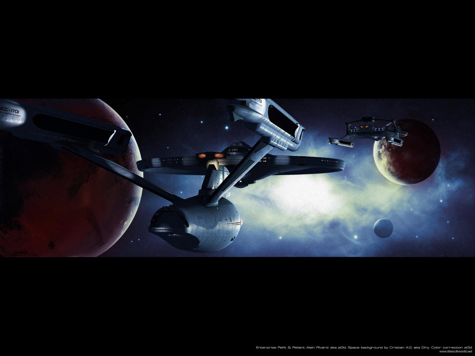 Star Trek Starships Enterprise and Reliant on patrol   Star Trek 1600x1200