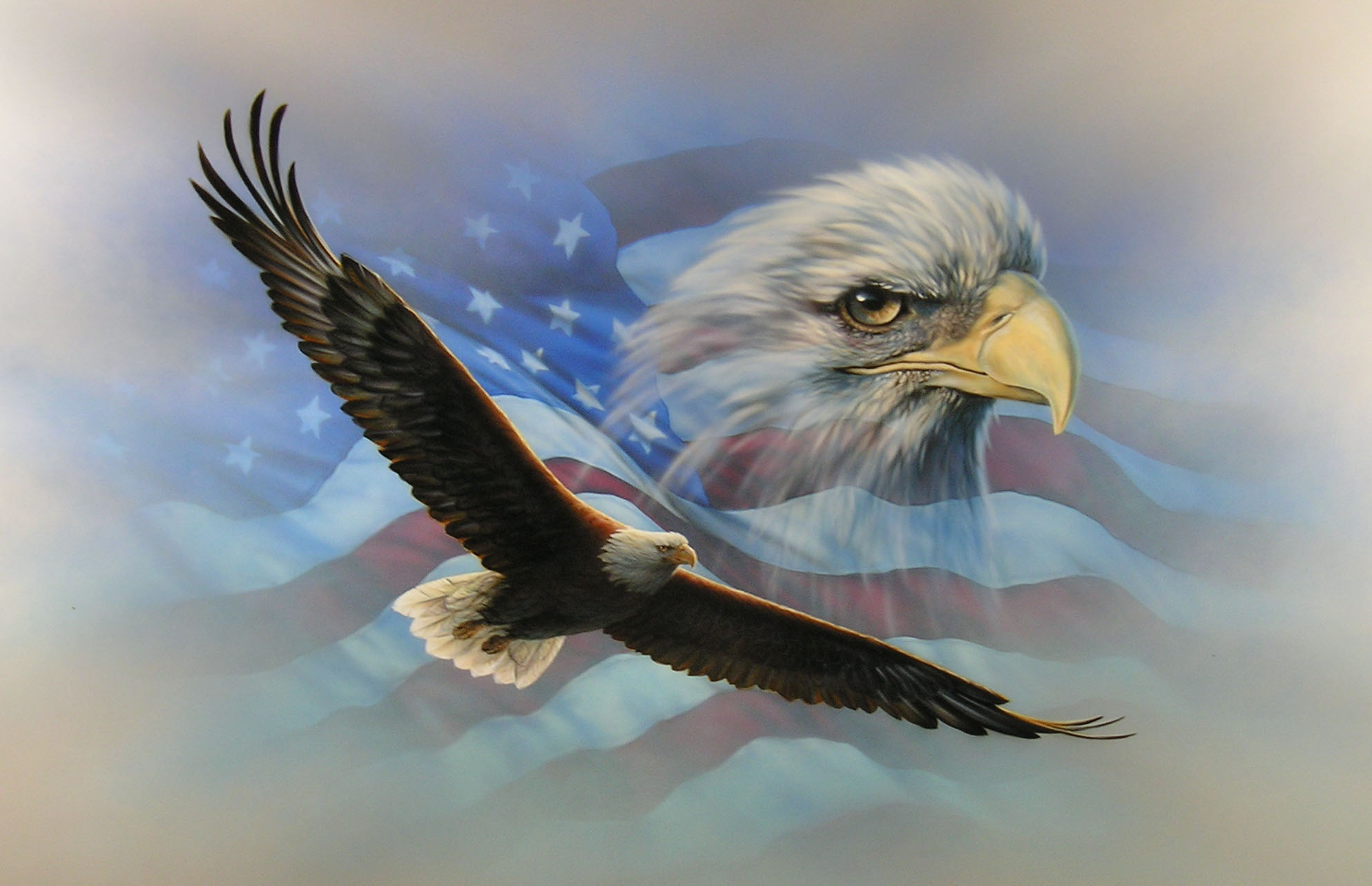 Home Places Travel American Flag Eagle Wallpaper 1987x1283