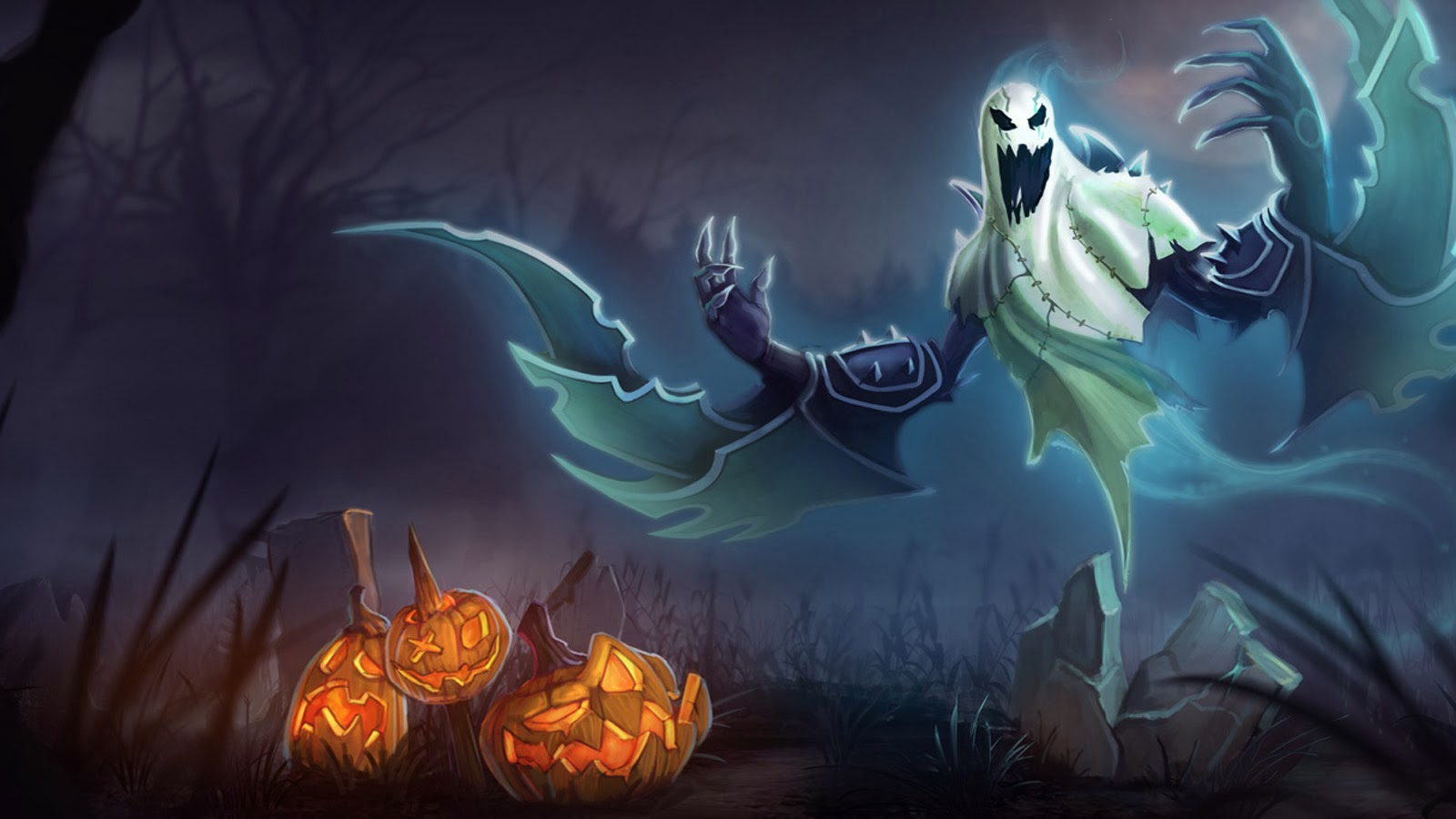 Nocture Ghost Halloween Skin A4 Wallpaper HD 1600x900