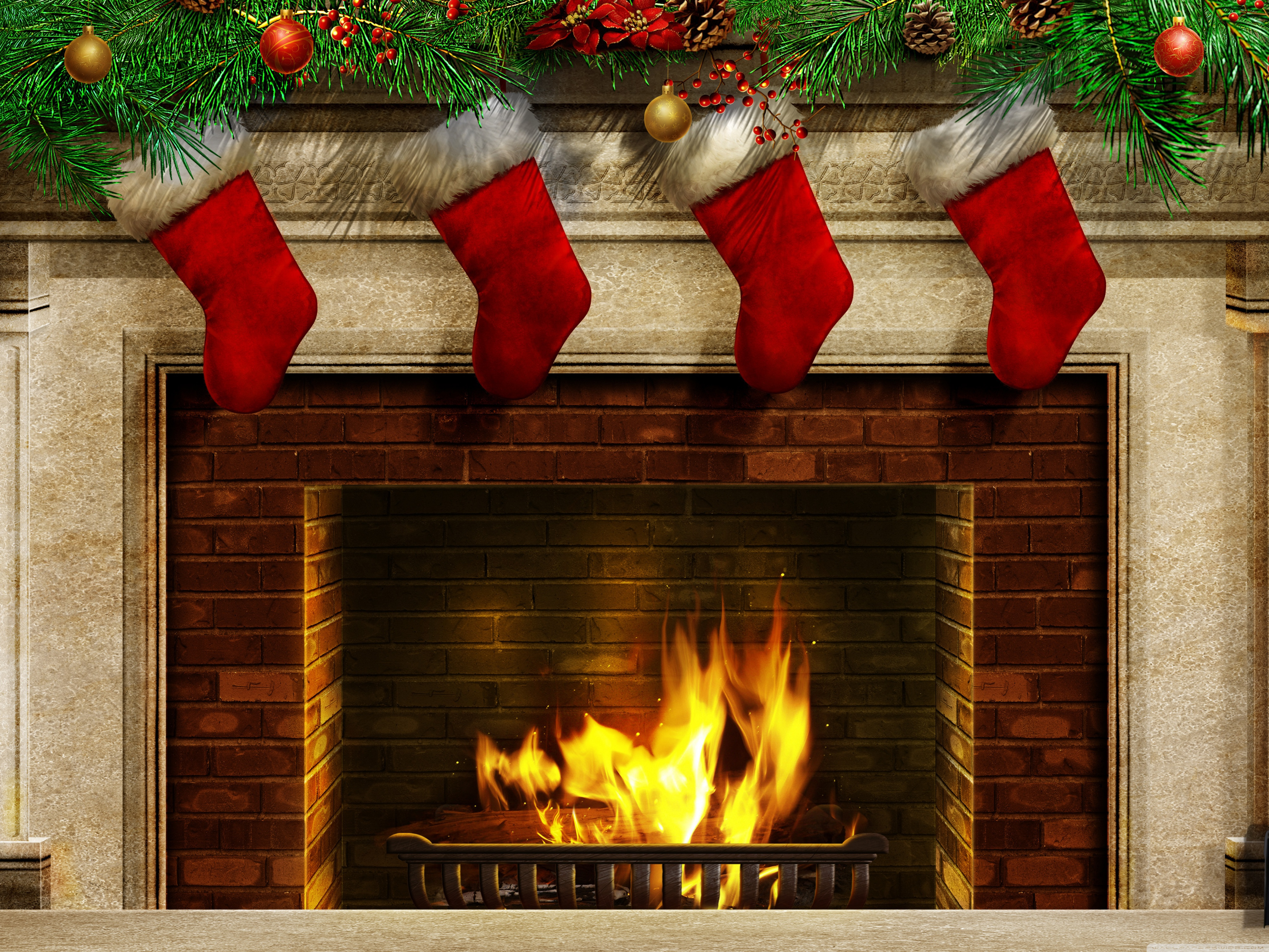 New Years socks at a fireplace wallpapers and images 4096x3072