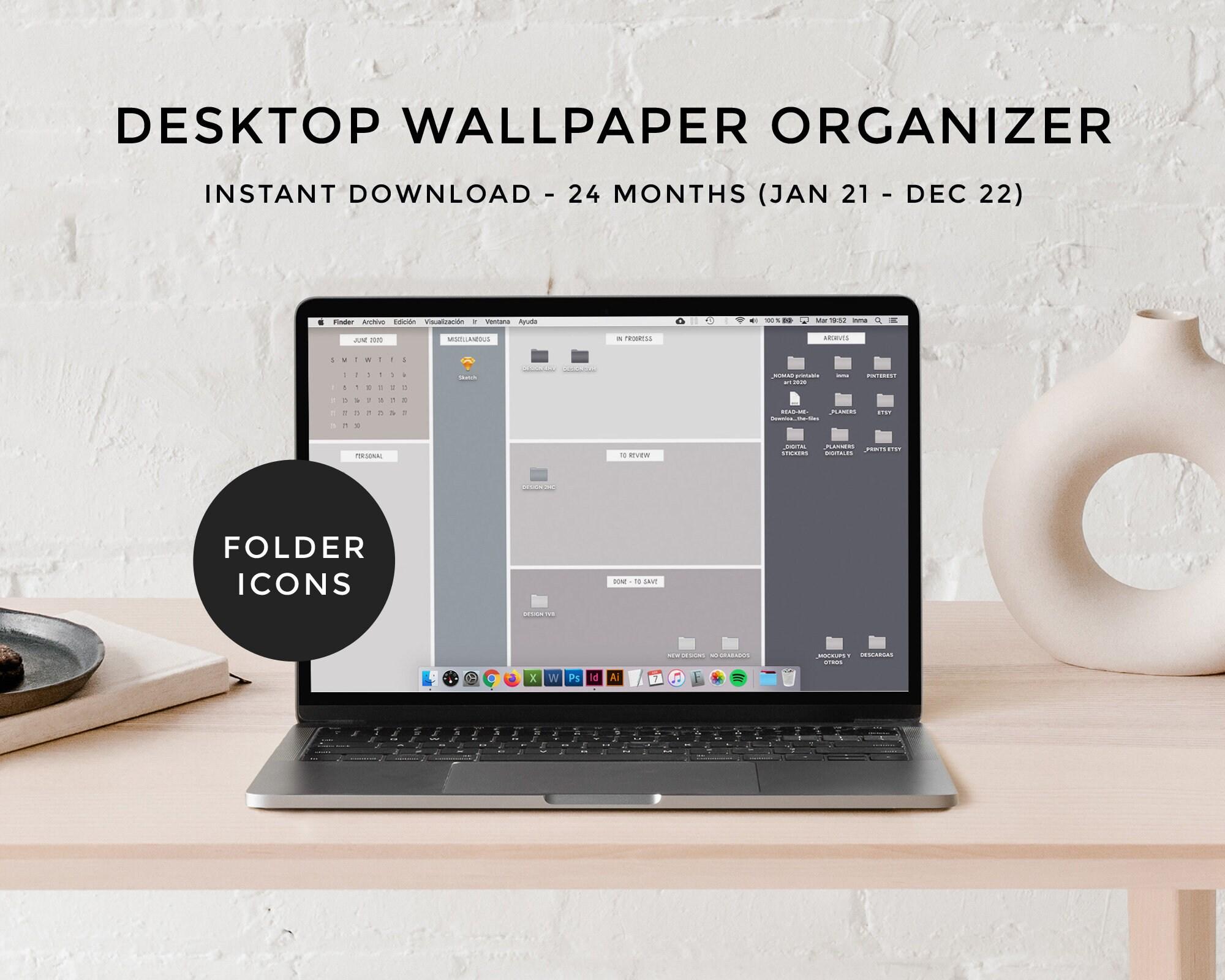 Desktop wallpaper organizer calendar 2021 2022 Minimalist Etsy 2000x1600