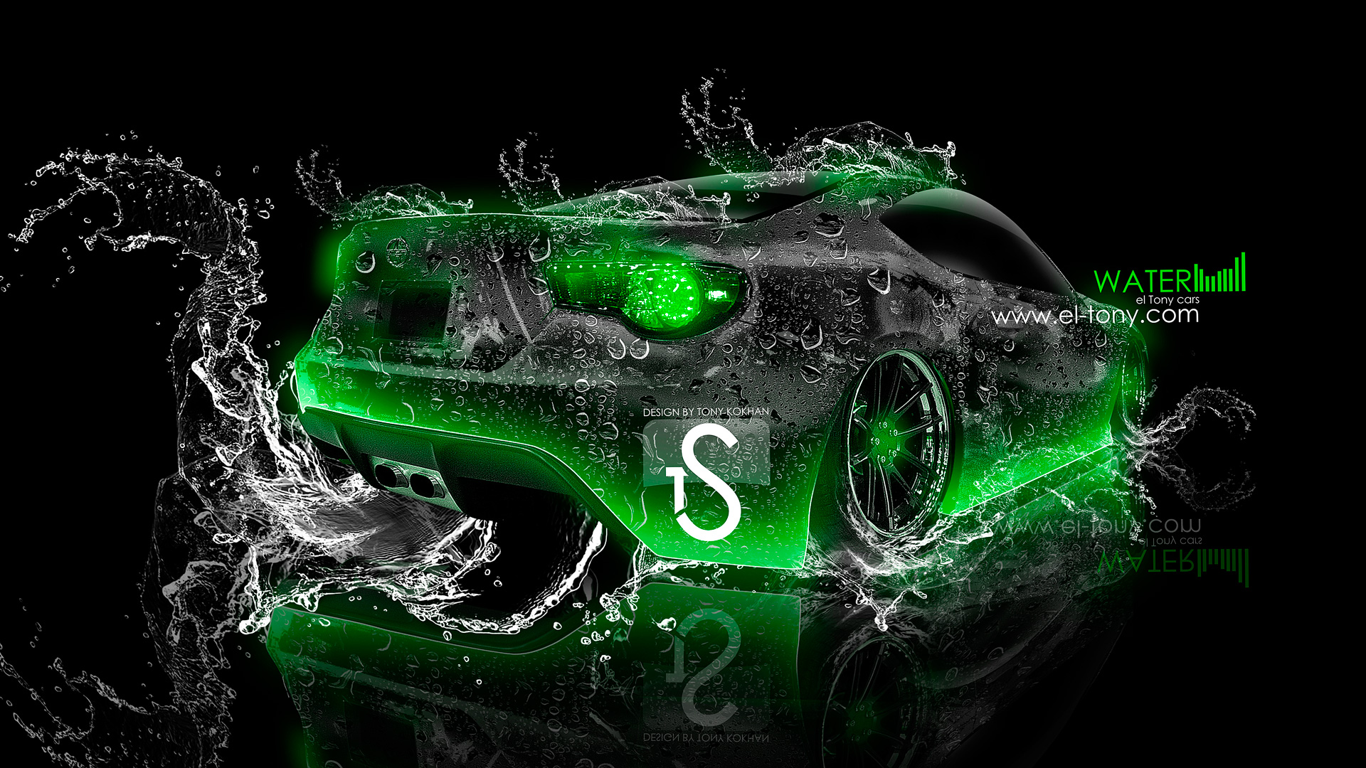 Scion FR S Water Car 2013 Green Neon HD Wallpapers design by Tony 1920x1080