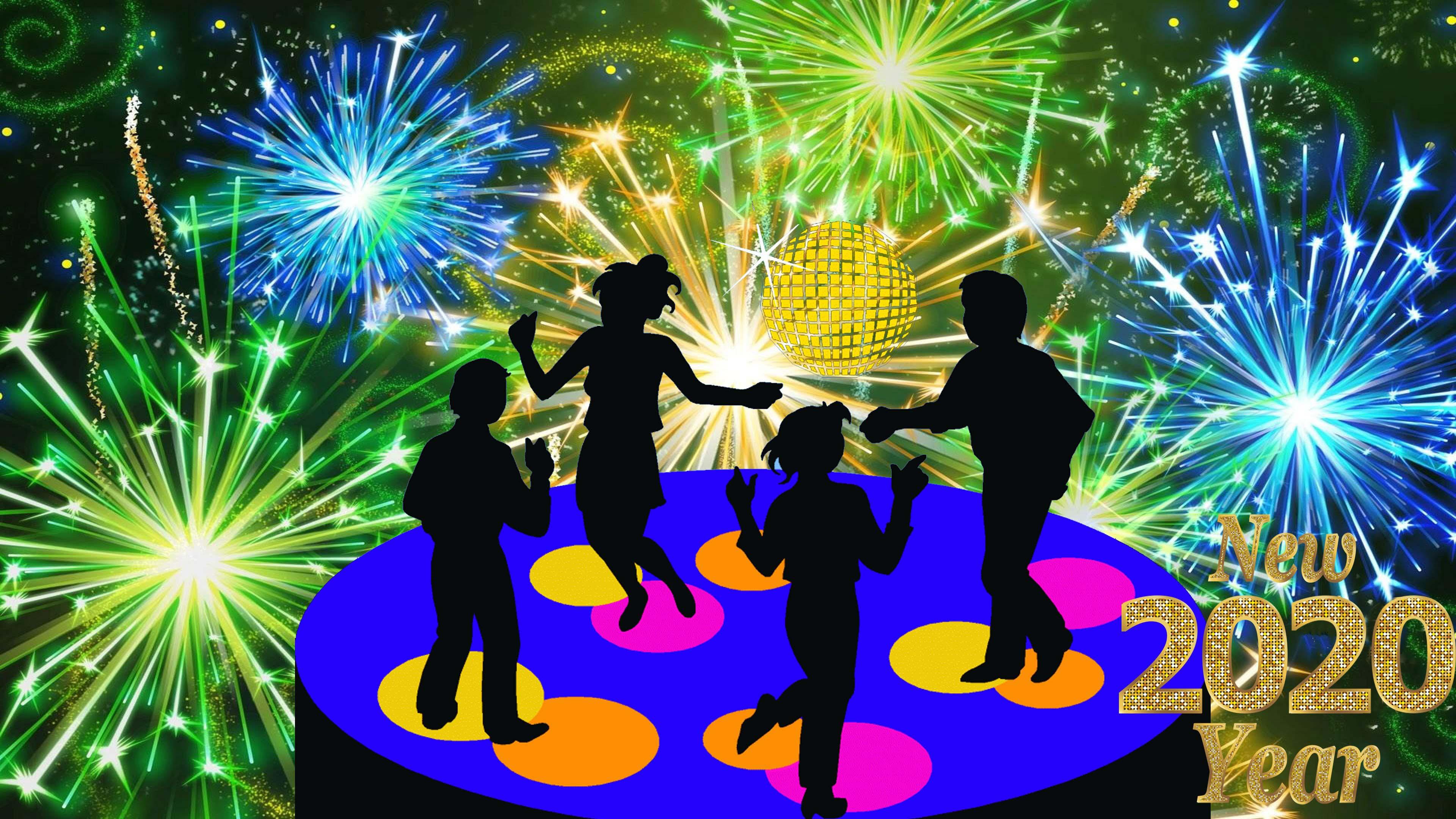 New Years Eve 2020 Disco Music Dancing Celebration Fireworks 3840x2160