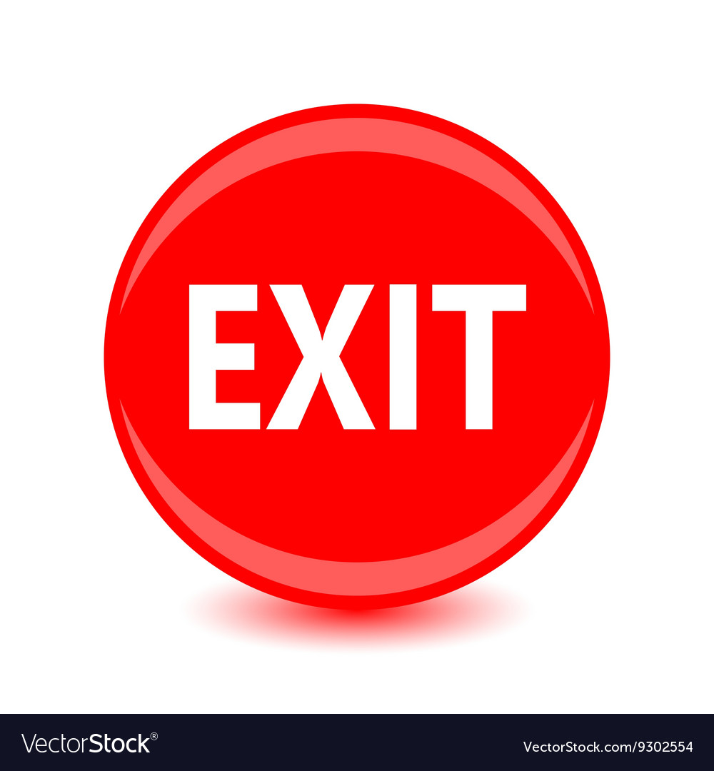 Exit red glossy circle icon on white background Vector Image 1000x1080