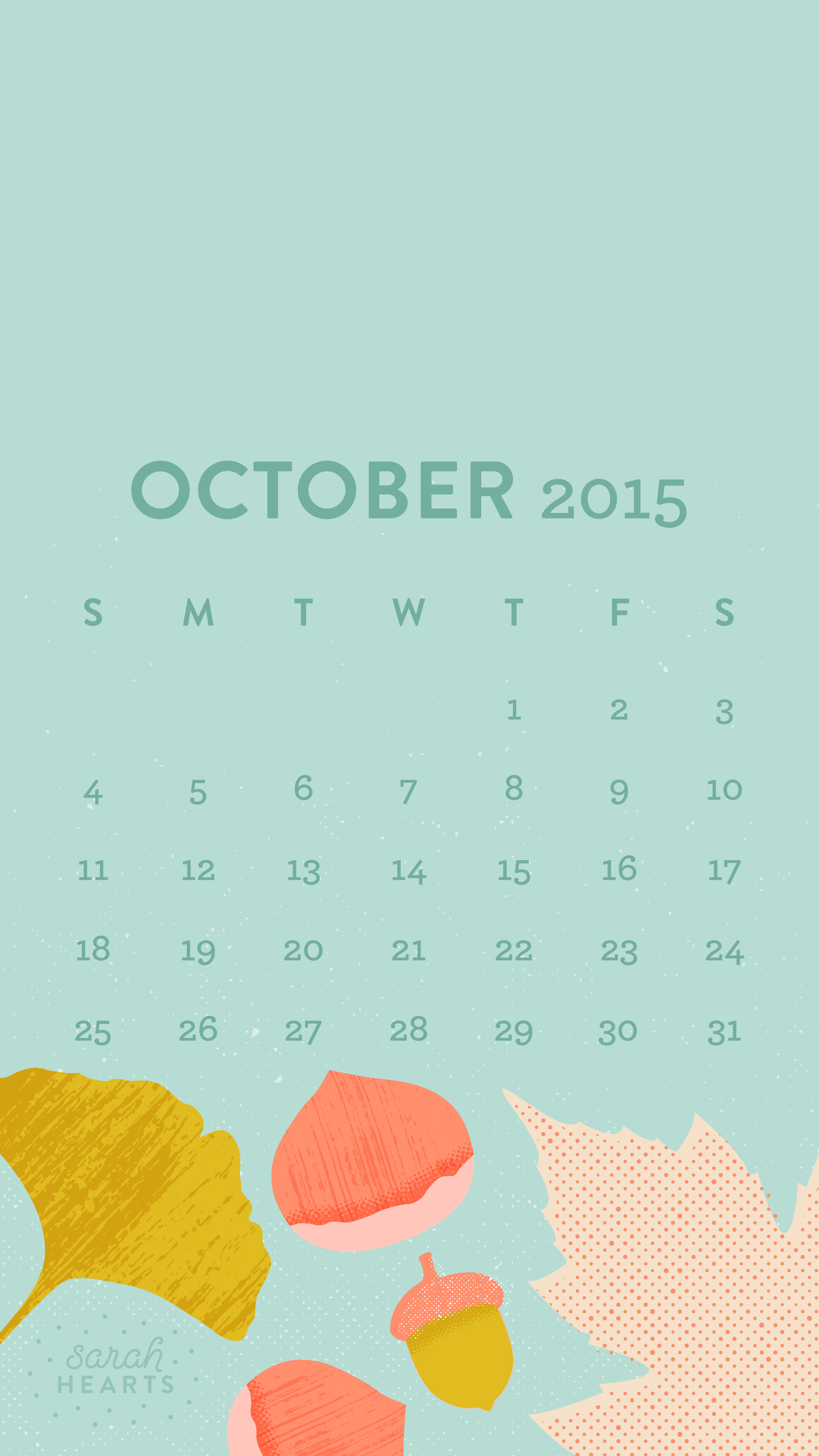 October 2015 Calendar Wallpaper   Sarah Hearts 2250x4000