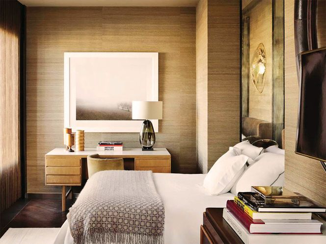 grasscloth neutral bedroom Fabric Wallpaper and Tile Pinterest 664x498