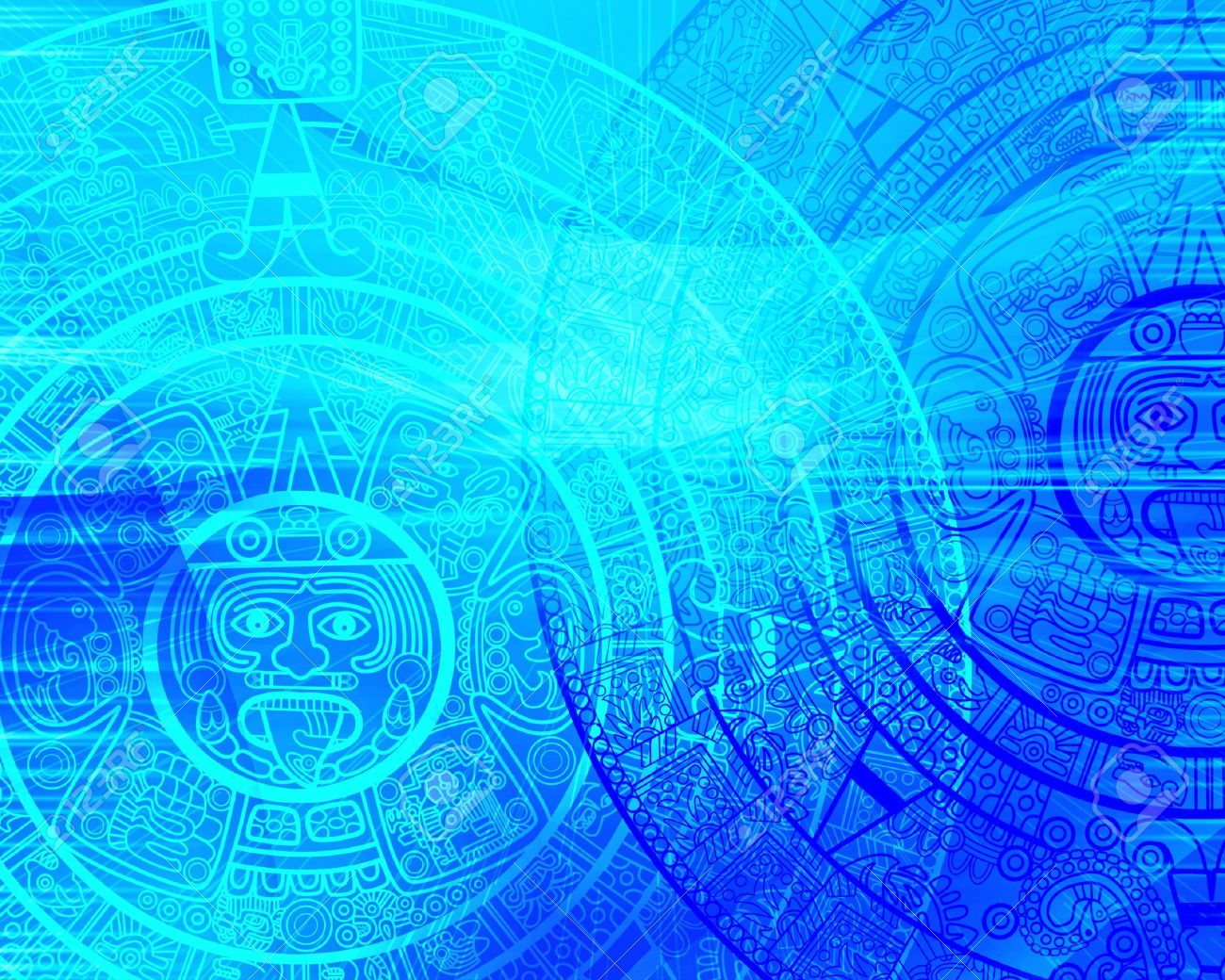 Maya Prophecy Background Of Blue Color Stock Photo Picture And 1300x1040