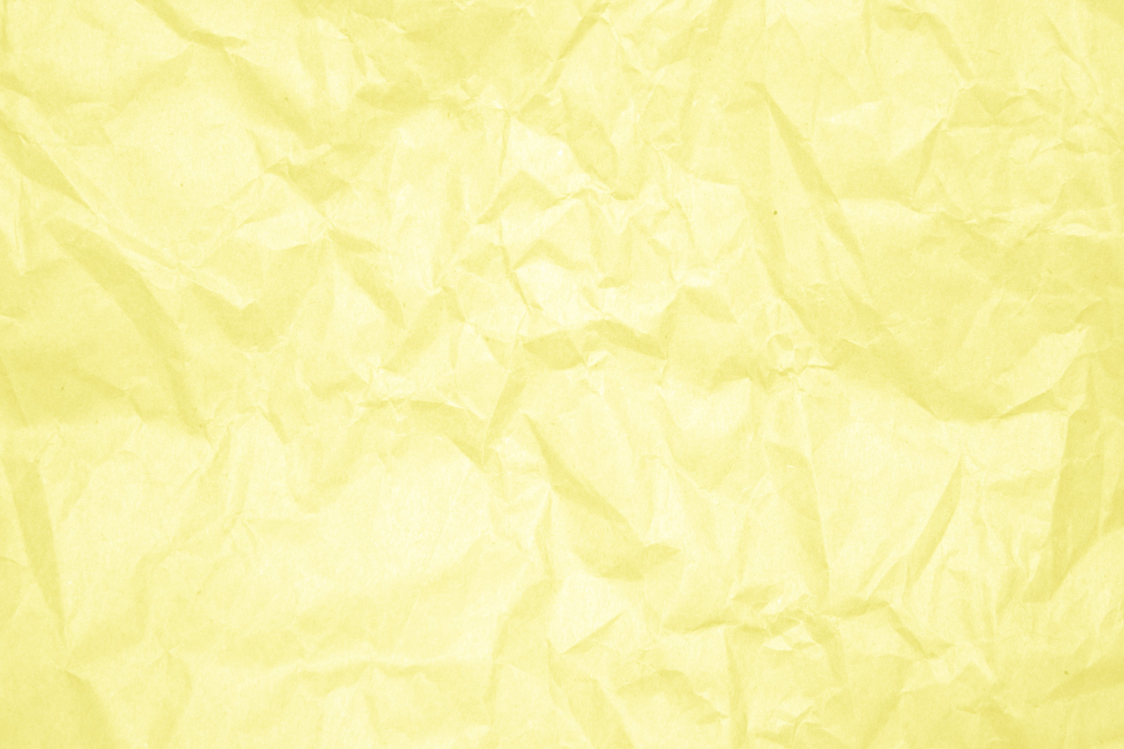 Crumpled Yellow Paper Texture Picture Photograph Photos 3888x2592