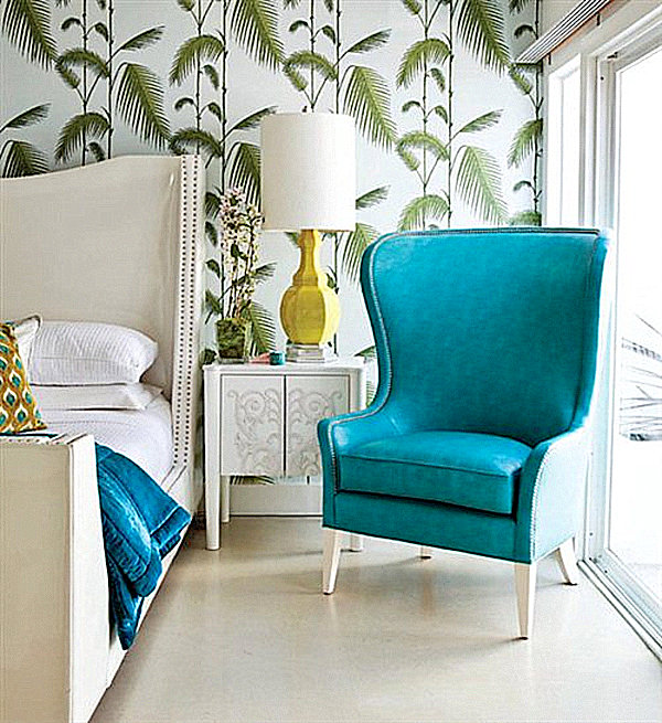 To really bring the tropics home go with palm leaf wallpaper in the 600x655