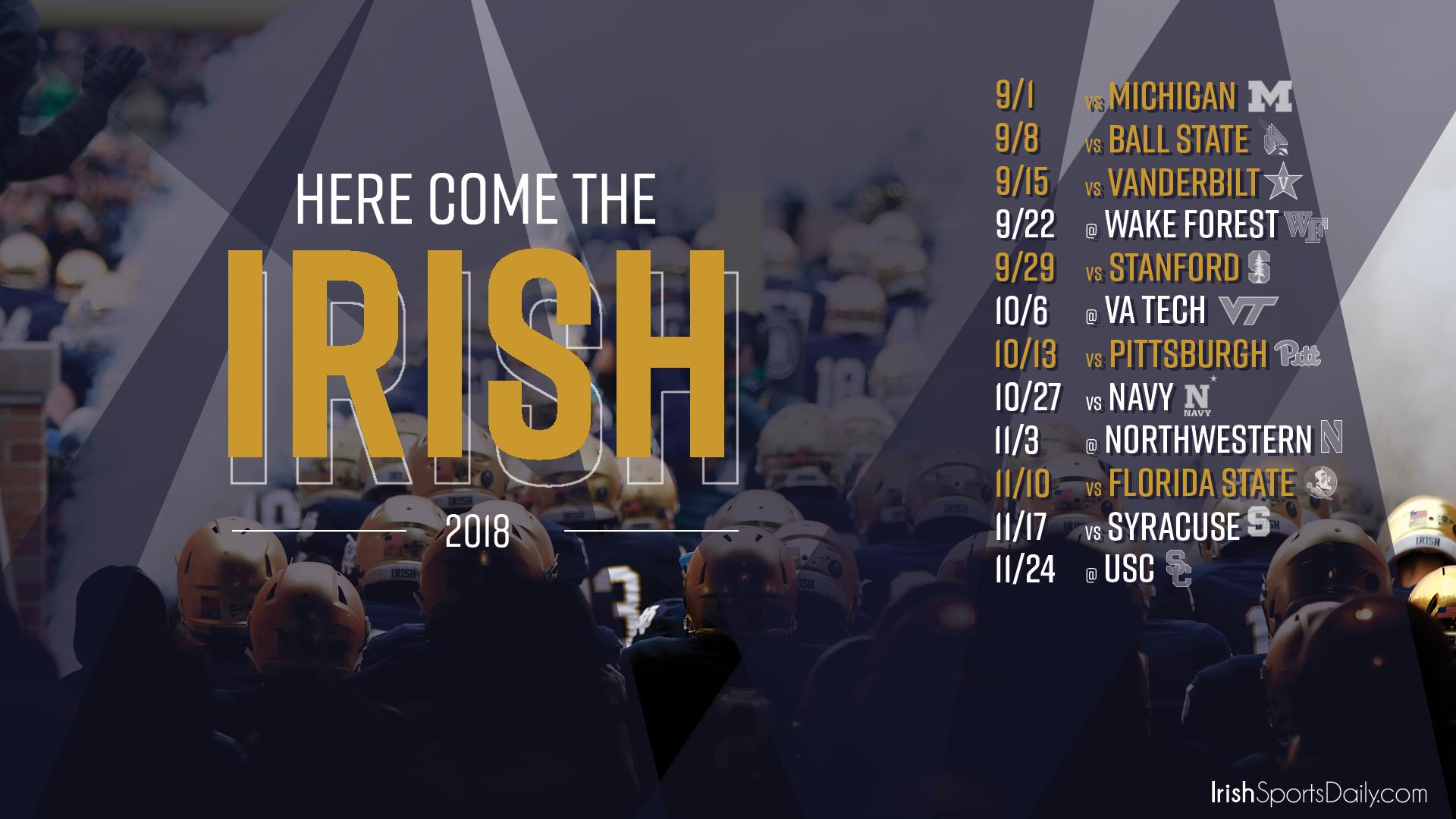 2018 Notre Dame Football Schedule Desktop Background Irish 1920x1080