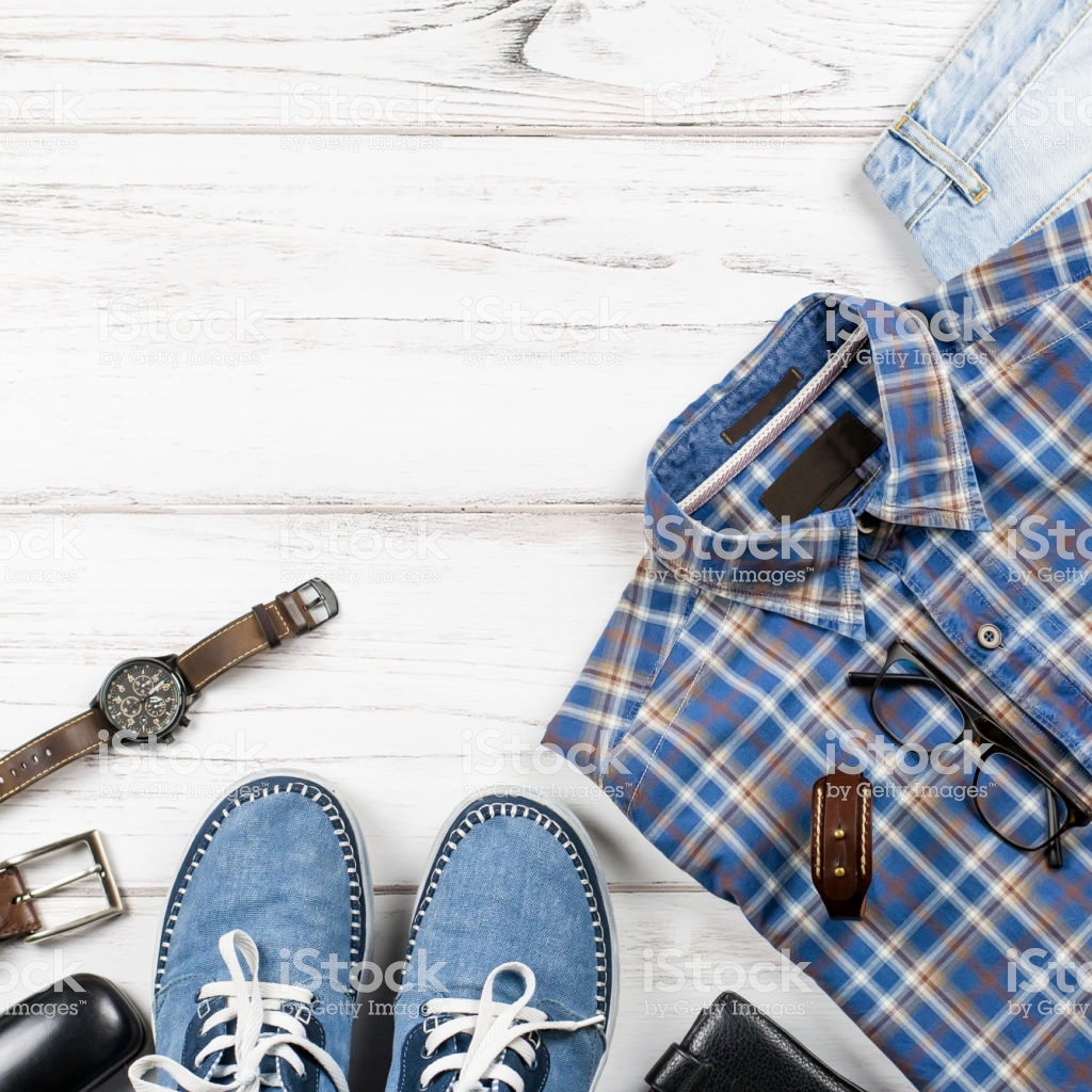 Men Stylish Casual Clothing And Accessories On Wooden Background 1024x1024