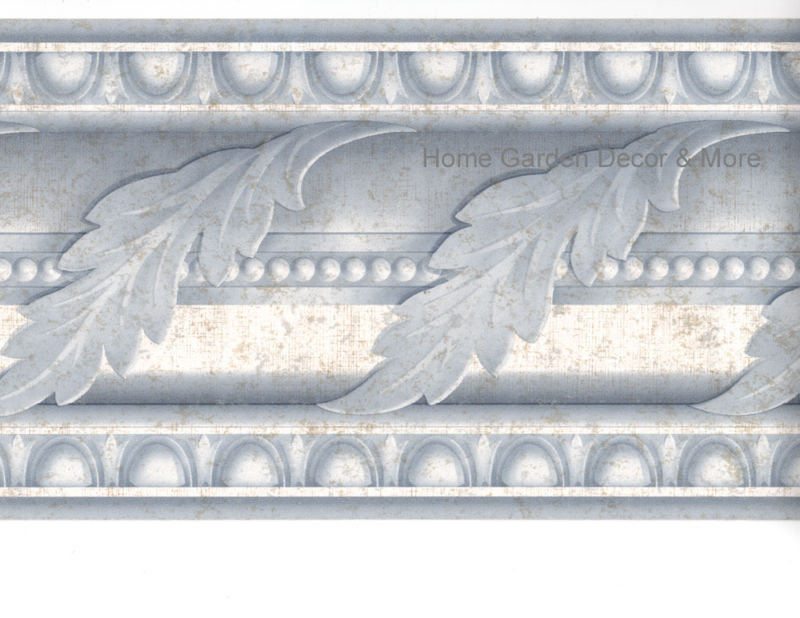 Blue Acanthus Leaf Scroll Crown Molding Moulding Egg Dart Wall paper 800x618