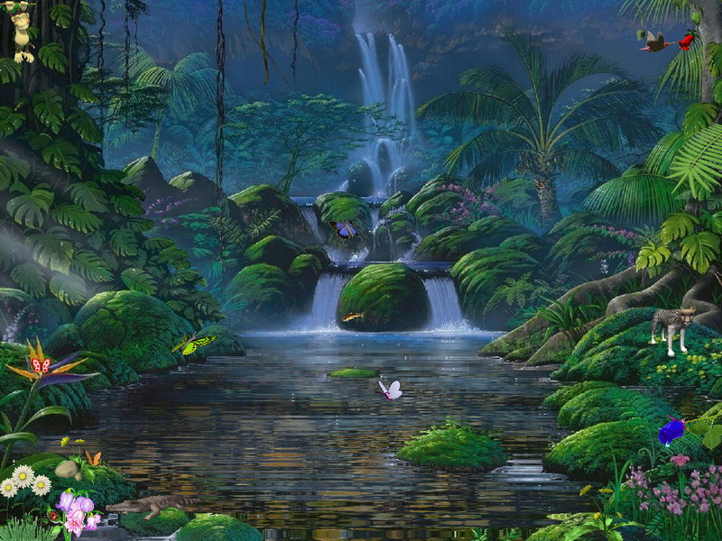 Fascinating Waterfalls screensaver enchant your laptop or PC screen 800x600
