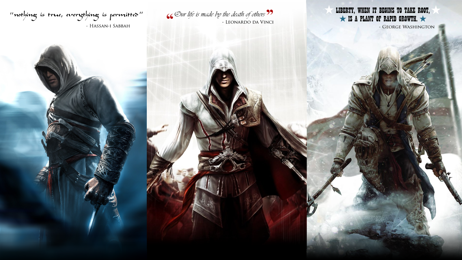 creed altair ezio and connor by okiir customization wallpaper 1600x900