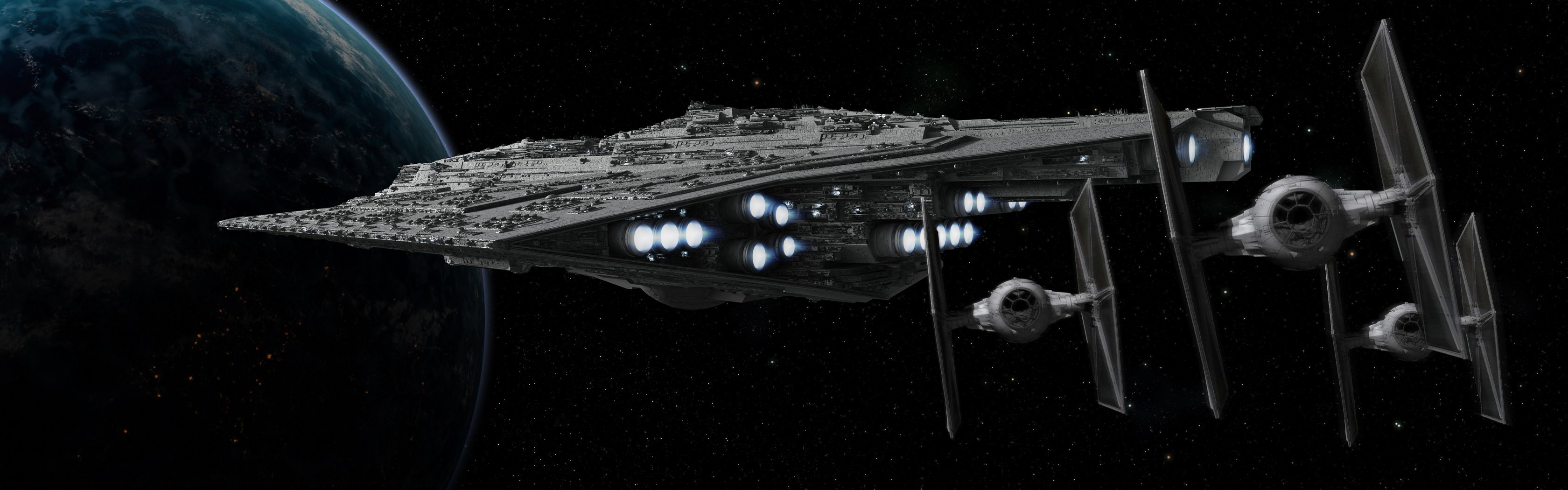 Star Wars Destroyer Fighters Computer Wallpapers Desktop Backgrounds 3360x1050