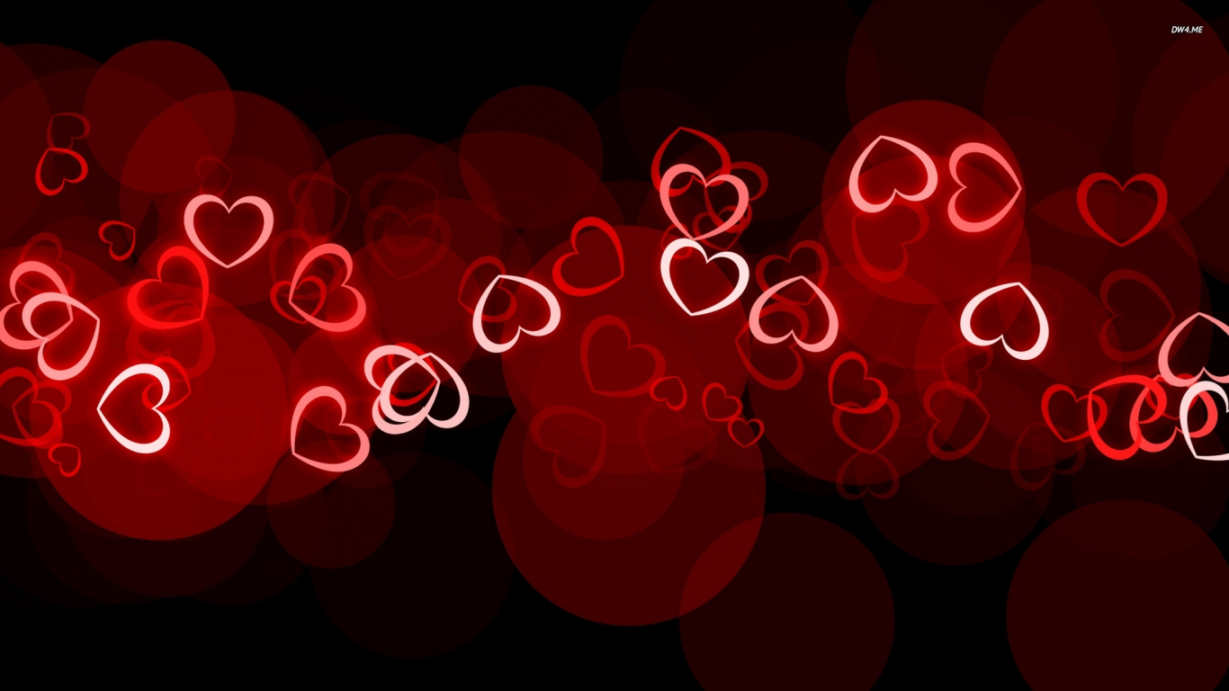 Glowing Hearts Happy Valentines Day HD Desktop Wallpaper 1366x768