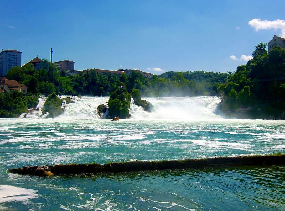 HD wallpaper rhine falls waterfall roaring river water mass 910x673