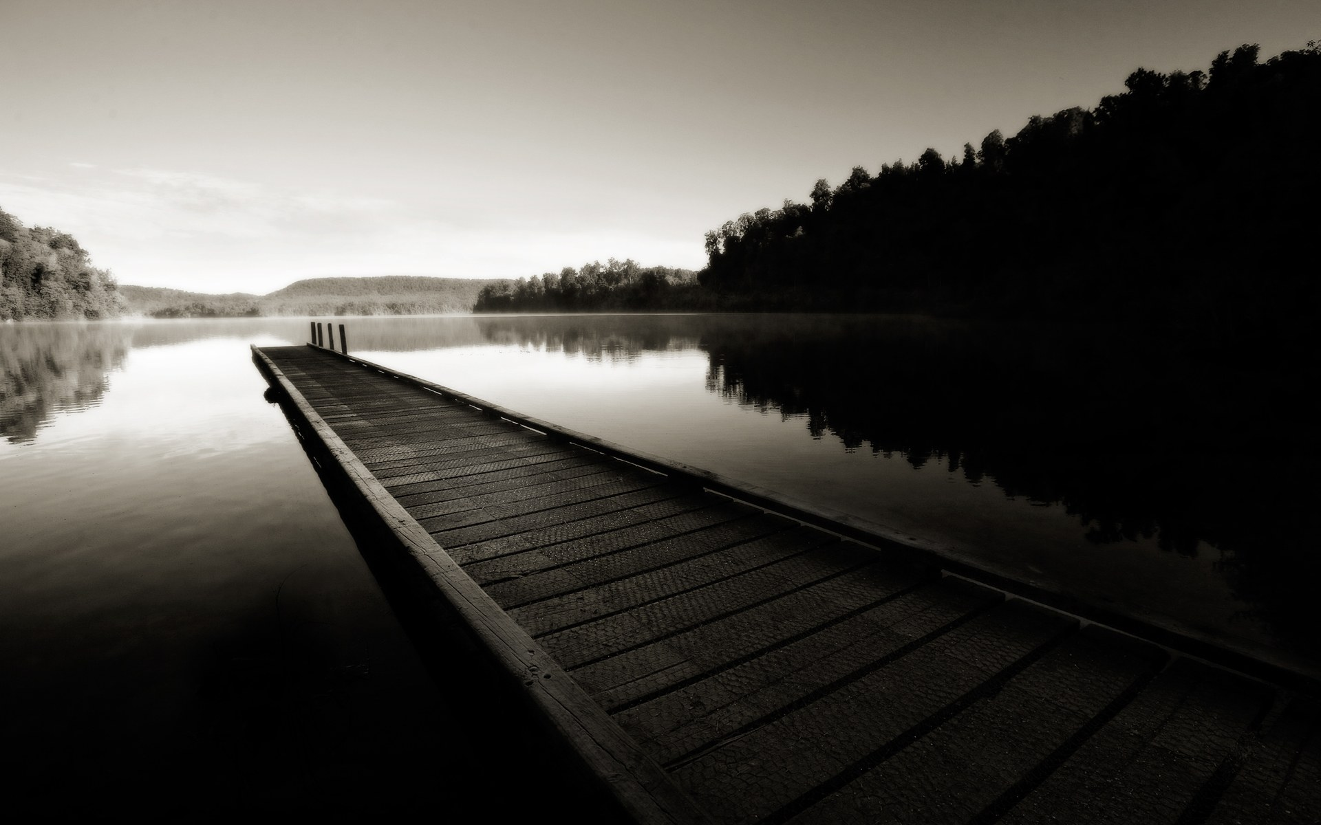 Black and White Dock desktop wallpaper 1920x1200