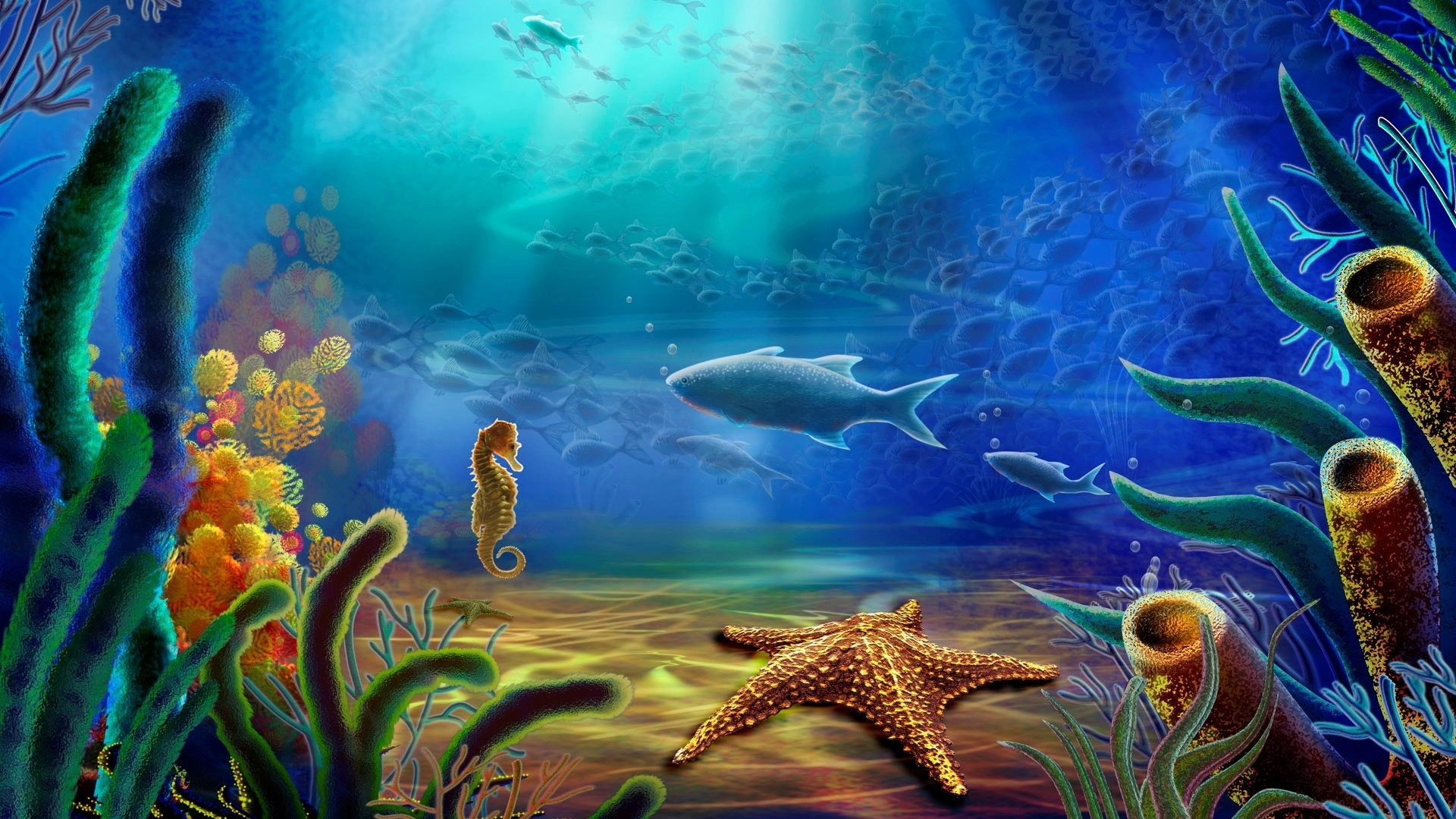 Under Water 3D View for 1920 x 1080 HDTV 1080p resolution 1920x1080