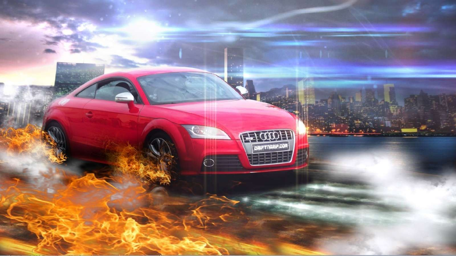 Audi Red In Fire Wallpaper Hd Car Wallpapers 1600x900
